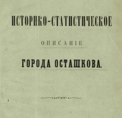скачать книгу Историко-статистическое описание города Осташкова