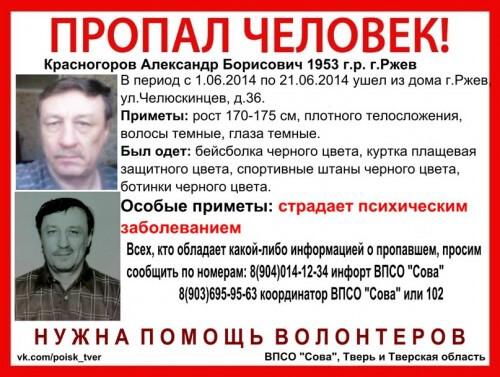 фото Без вести пропал Александр Красногоров