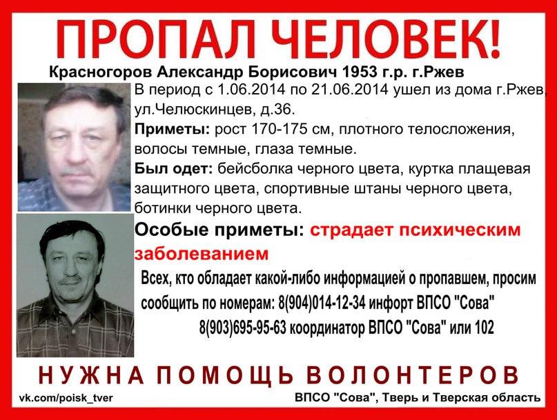 Без вести пропал Александр Красногоров