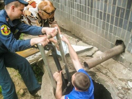 фото Конаковские сотрудники МЧС спасли котенка от неминуемой гибели