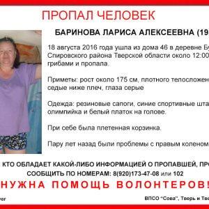 фото В Спировском районе пропала Лариса Баринова