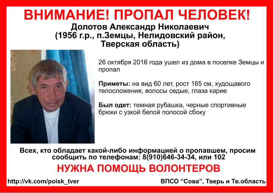 В Нелидовском районе пропал Александр Долотов