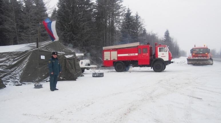 На федеральных трассах в Тверской области работают 7 мобильных и 67 стационарных пунктов обогрева