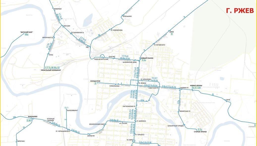 В сети появились схемы общественного транспорта городов Тверской области