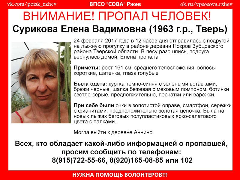 (Найдена, погибла) В Зубцовском районе пропала Елена Сурикова