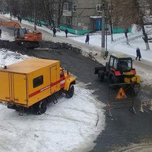 фото В Твери перекрывали улицу из-за ремонта трубопровода