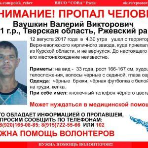 фото В Ржевском районе пропал Валерий Ваушкин (Найден, жив)