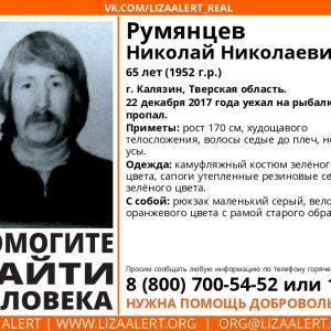 фото Волонтеры разыскивают пропавшего Николая Румянцева