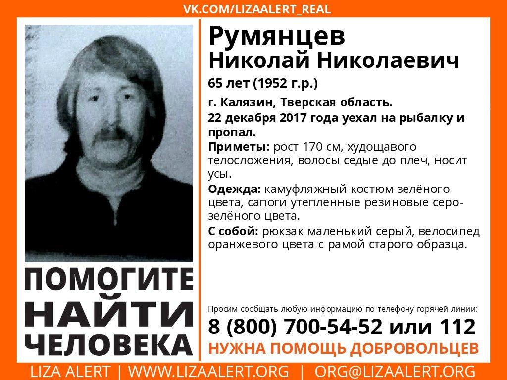 Волонтеры разыскивают пропавшего Николая Румянцева