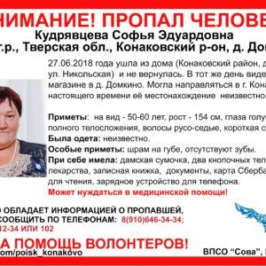 фото [Найдена, жива] Волонтеры разыскивают женщину, пропавшую в Конаковском районе