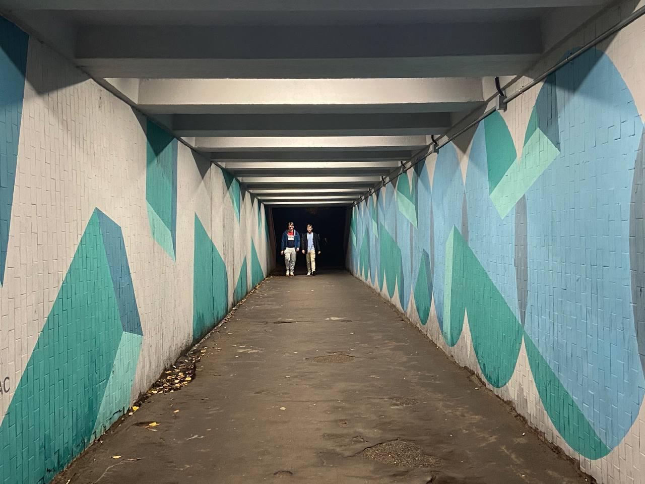 В Твери урбанисты осветили тоннель под Старым Волжским Мостом